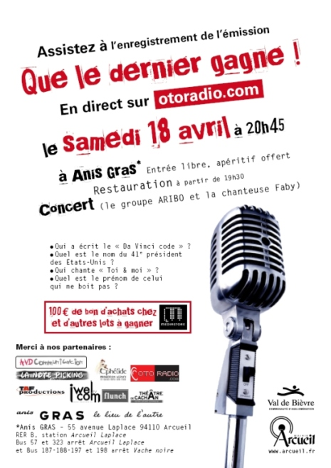 Grand jeu OTORADIO en direct , samedi 18 avril à 20h45